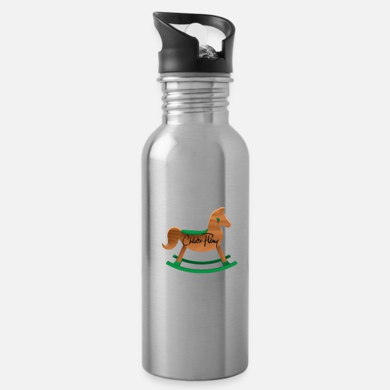Saddle Mugs & Drinkware - Childs Play black Souvenir, Gift, Gift Idea - Water Bottle silver