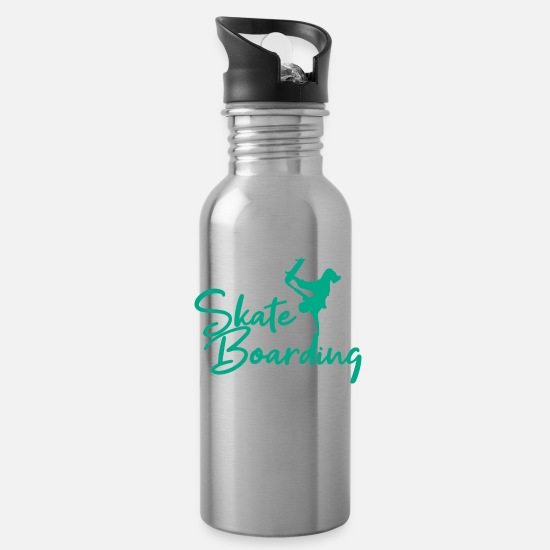 Ollie Mugs & Drinkware - Skateboarding - Water Bottle silver