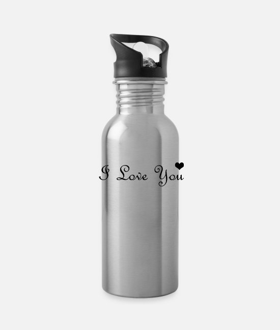 Heart Mugs & Cups - I love you hearth - Water Bottle silver