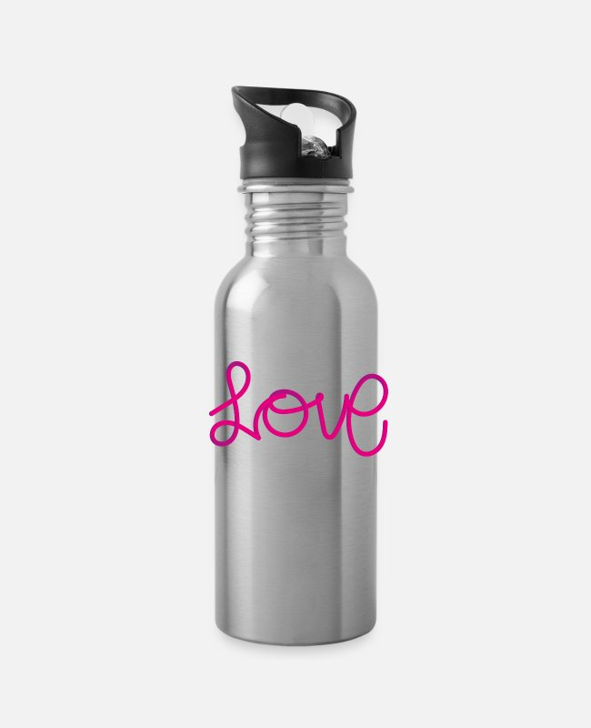Valentine's Mugs & Cups - Love - Water Bottle silver