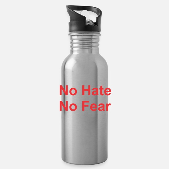 No Mugs & Drinkware - No Hate No Fear - Water Bottle silver