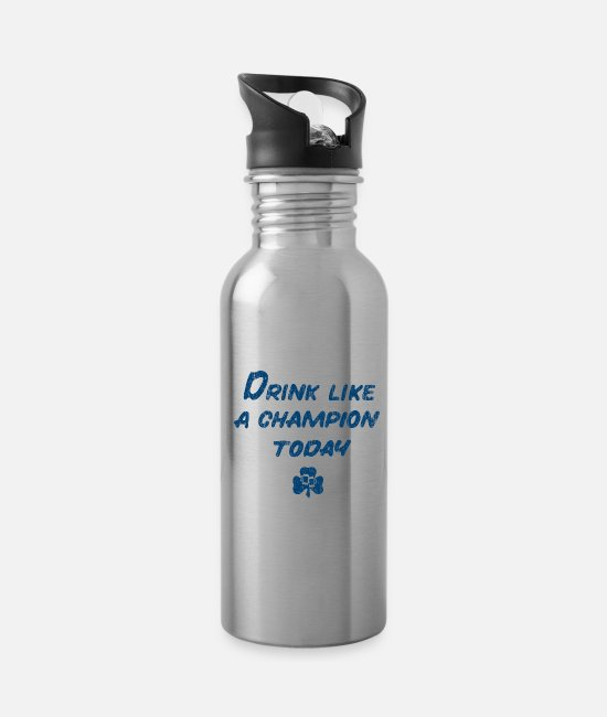 Fighting Mugs & Cups - Drink Like a Champion - Water Bottle silver