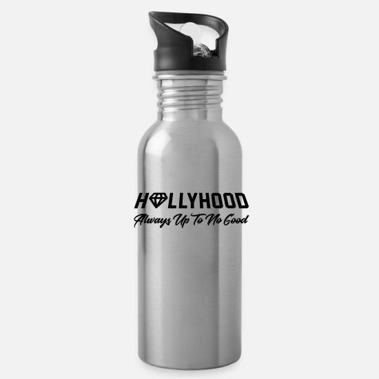 Nyc Mugs & Drinkware - HOLLYHOOD - Hollywood Always Up To No Good - Water Bottle silver