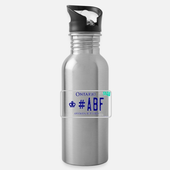 Abf Mugs & Drinkware - #ABF ANYBODY BUT FORD ONTARIO LICENCE PLATE - Water Bottle silver