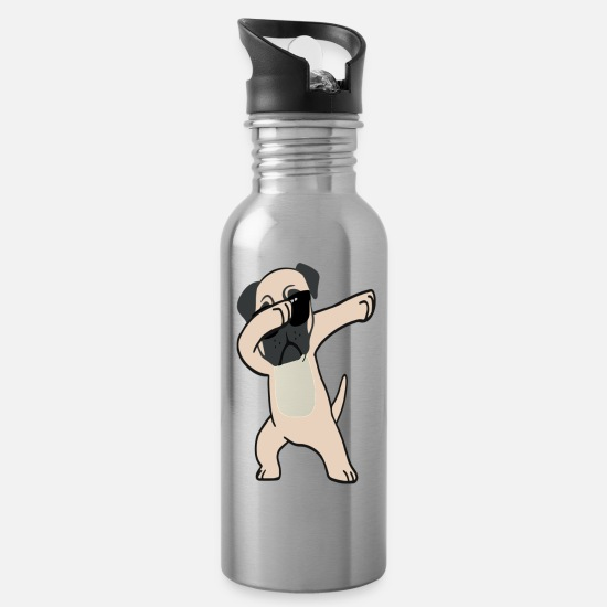 Cool Mugs & Drinkware - Dabbing Pug Shirt Cute Funny Dog Dab - Water Bottle silver