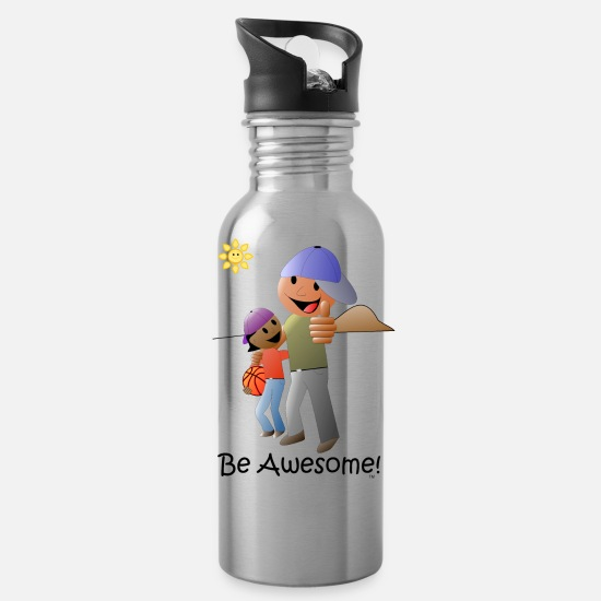 Love Mugs & Drinkware - Be Awesome Cartoon - Water Bottle silver