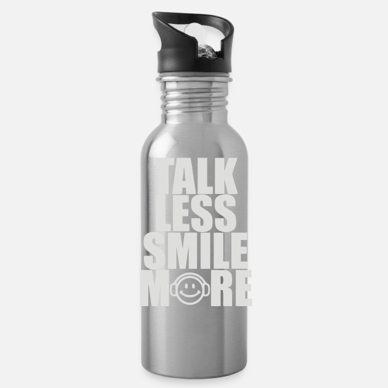 Smile Mugs & Drinkware - Talk Less Smile More - Water Bottle silver