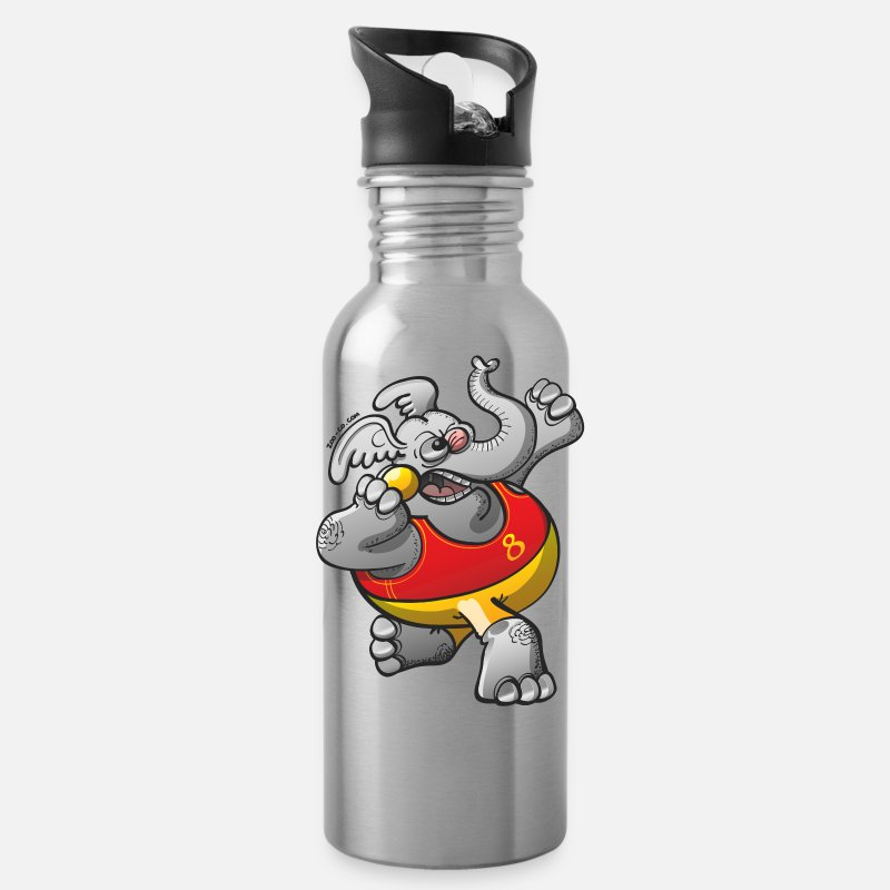 Ball Sport Mugs & Drinkware - Olympic Shot Put Elephant - Water Bottle silver