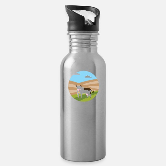 Cowbell Mugs & Drinkware - Cow and mountains - Water Bottle silver