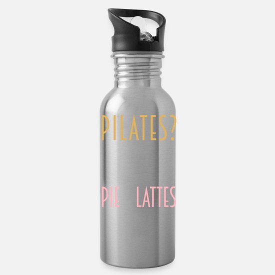 Pie Mugs & Drinkware - Pilates Pie And Lattes Workout Funny Pilates Gift - Water Bottle silver