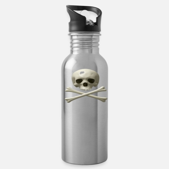 Halloween Mugs & Drinkware - Skull And Bones - Water Bottle silver