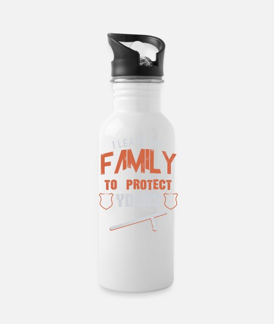 Protect Mugs & Cups - i leave my family to protect yours police shirt - Water Bottle white