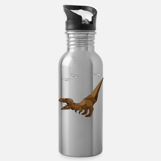 Japanese Art Mugs & Drinkware - Origami T-Rex Dinosaur Japanese Paper Art - Water Bottle silver