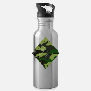 Fashion Square camouflage pattern green - Water Bottle