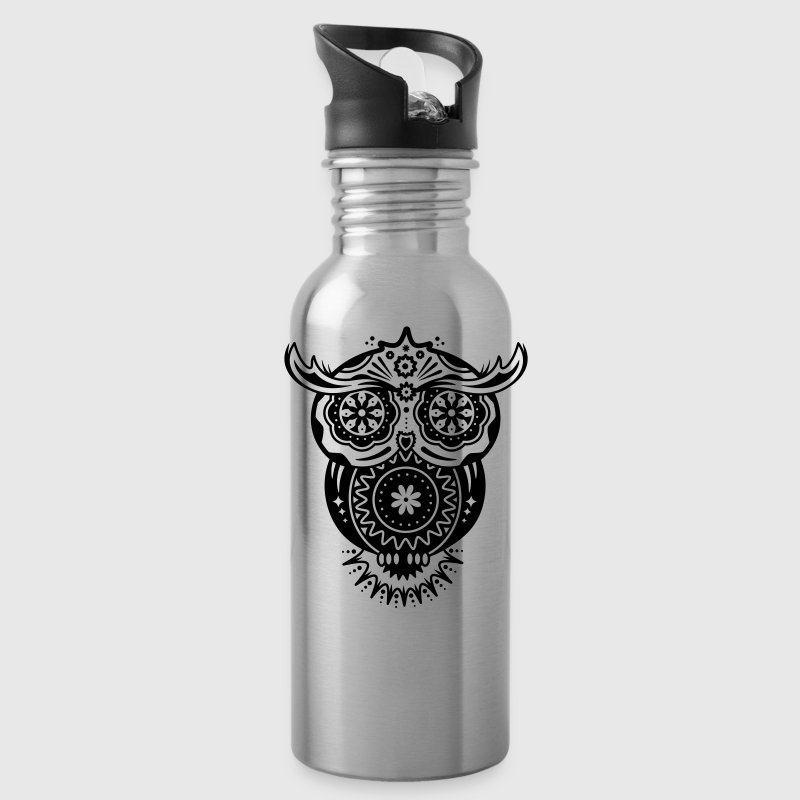 Owl in the style of Sugar Skulls - Water Bottle