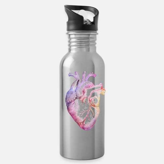 Rainbow Mugs & Drinkware - Anatomical Heart with colors - Water Bottle silver