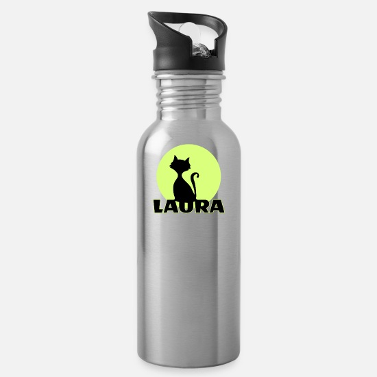 Birthday Mugs & Drinkware - Laura first name - Water Bottle silver