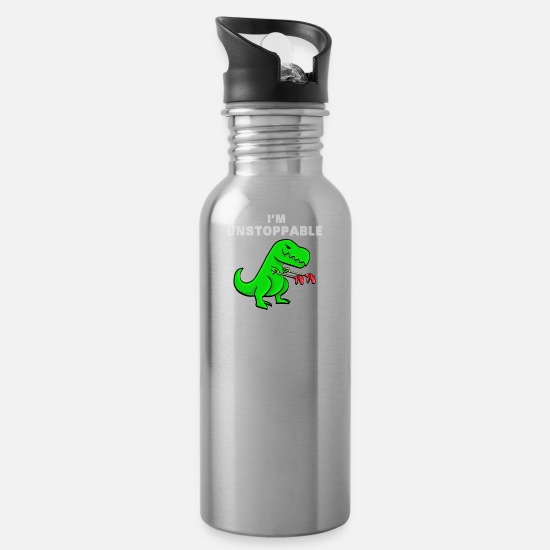 Trex Mugs & Drinkware - I am unstoppable funny dinosaur t-rex dino joke - Water Bottle silver