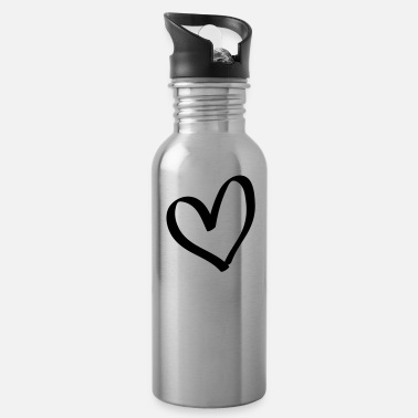 Lovely Hand drawn comic heart -love lover girlfriend cute - Water Bottle