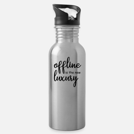 Offline Mugs & Drinkware - offline is the new luxury - Water Bottle silver
