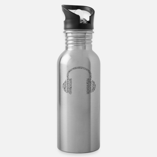 Note Mugs & Drinkware - headphone notes - Water Bottle silver