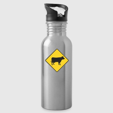 Road_sign_cow_yellow - Water Bottle