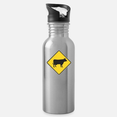 Speedway Road_sign_cow_yellow - Water Bottle