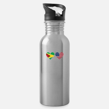 Heart Guyanese American Flag Hearts - Water Bottle