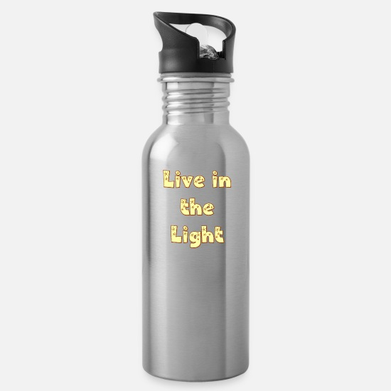 Christian Mugs & Drinkware - Live in The Light. Be a Cool Christian. - Water Bottle silver