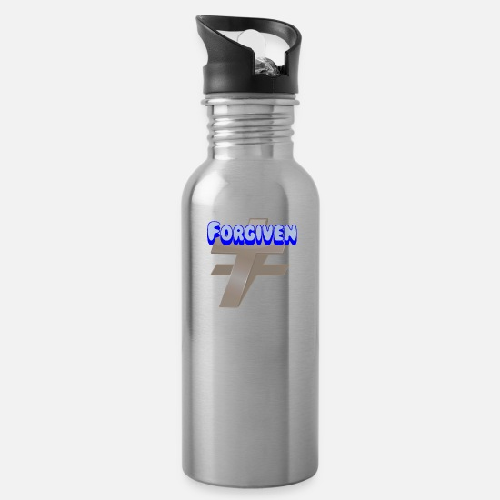 Cool Christian Mugs & Drinkware - Forgiven. Cool Christian. - Water Bottle silver