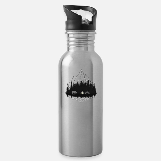 Nature Mugs & Drinkware - Camping - Water Bottle silver