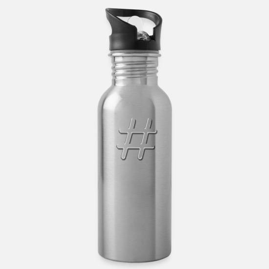 Game Mugs & Drinkware - Tic Tac Toe Hashtag - Water Bottle silver