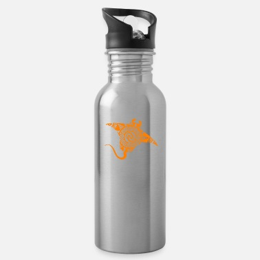 Maori Maori Stingray Tattoo Tribal Swimming Orange - Water Bottle