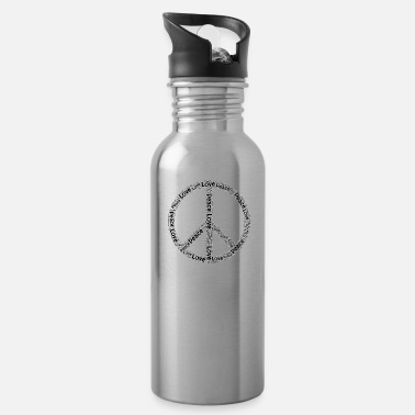 Hippie Movement Peace Love Gift Symbol movement Hippie Sign - Water Bottle