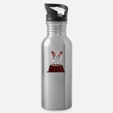 Miss Miss Kitty with glasses lady cat fashion - Water Bottle
