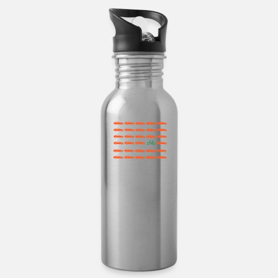 Bike Messenger Mugs & Drinkware - Car or bike: Drive different - Water Bottle silver