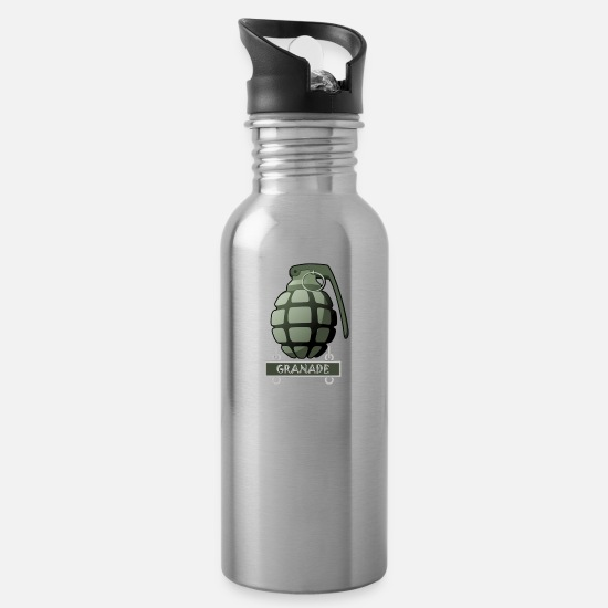 Game Mugs & Drinkware - Hand Grenade Military Army - Water Bottle silver