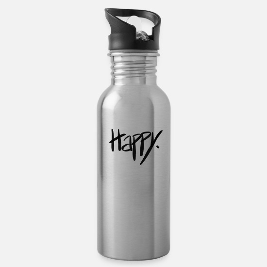 Attitude Mugs & Drinkware - Happy - Water Bottle silver