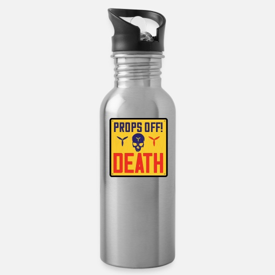 Love Mugs & Drinkware - PROPS OFF! or DEATH ( English version ) 1 of 3 - Water Bottle silver