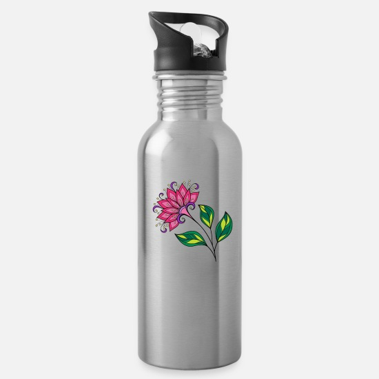 Flowers Mugs & Drinkware - Petals - Water Bottle silver