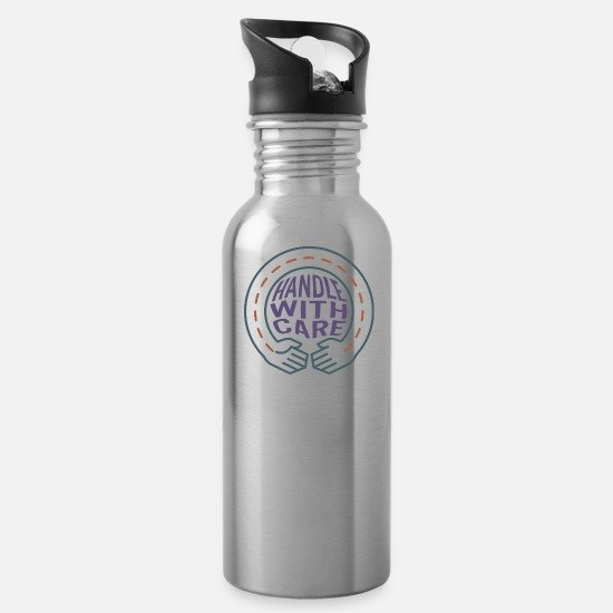 Symbol  Mugs & Drinkware - Handle with care - Water Bottle silver