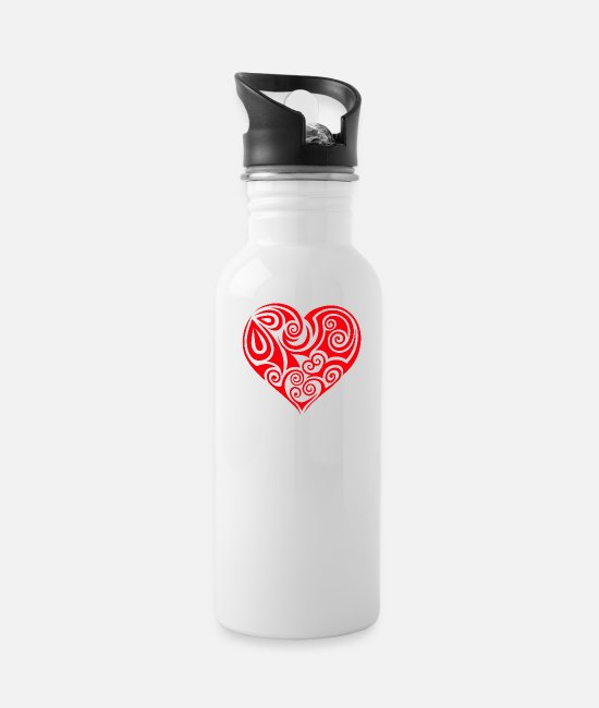 Heart Rate Mugs & Cups - heart Herz - Water Bottle white