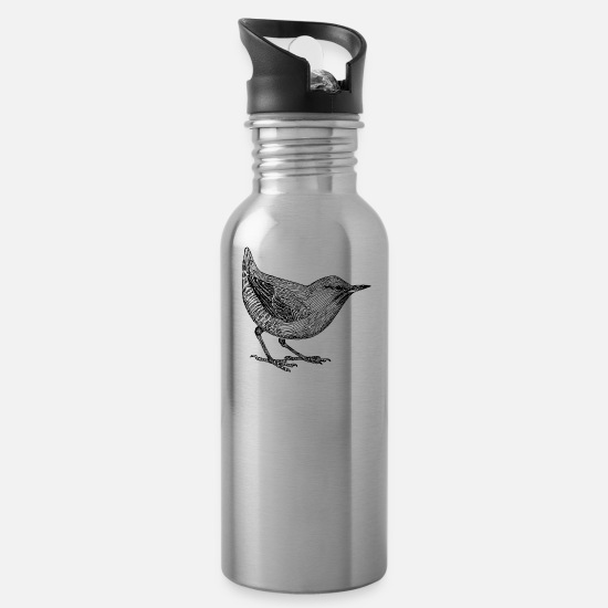 Forest Mugs & Drinkware - bird illustration - Water Bottle silver