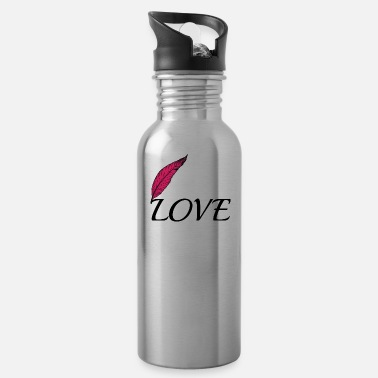 Lovely Love with feather - Water Bottle