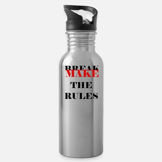 "Red Mugs & Drinkware - Make the rules ""Black"" - Water Bottle silver"