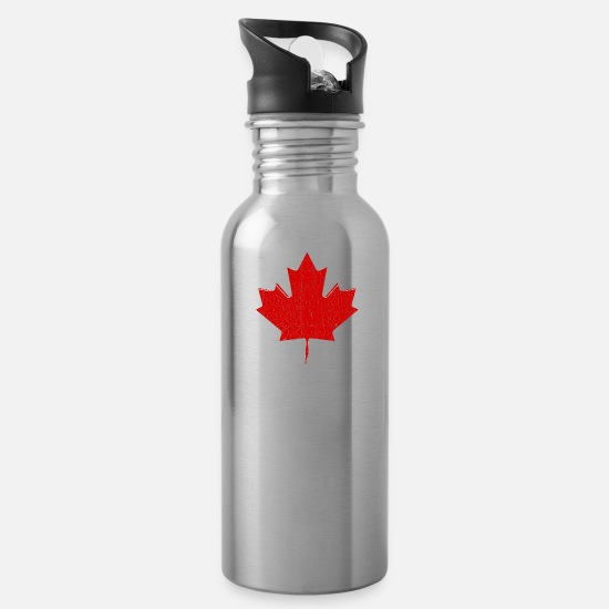Quebec Mugs & Drinkware - Red Canada Maple Leaf - Water Bottle silver