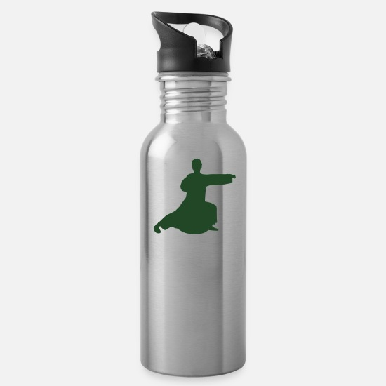Japan Mugs & Drinkware - Vector Asian Silhouette - Water Bottle silver