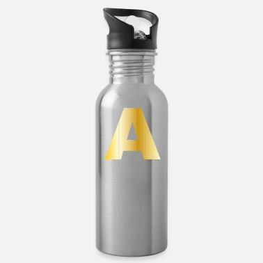 Surname A | Letter | Gold Color Initials Surname Gift - Water Bottle
