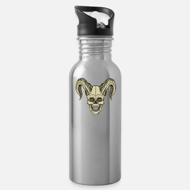 Horns Skull with horns horned skull - Water Bottle