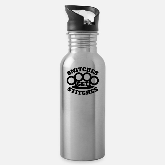 Knuckle Mugs & Drinkware - Snitches Get Stitches Metal Knuckles Famous Saying - Water Bottle silver